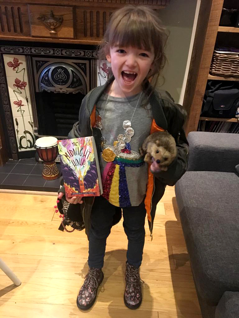 She even had a packet of biscuits in her school bag. Now that's dedication!