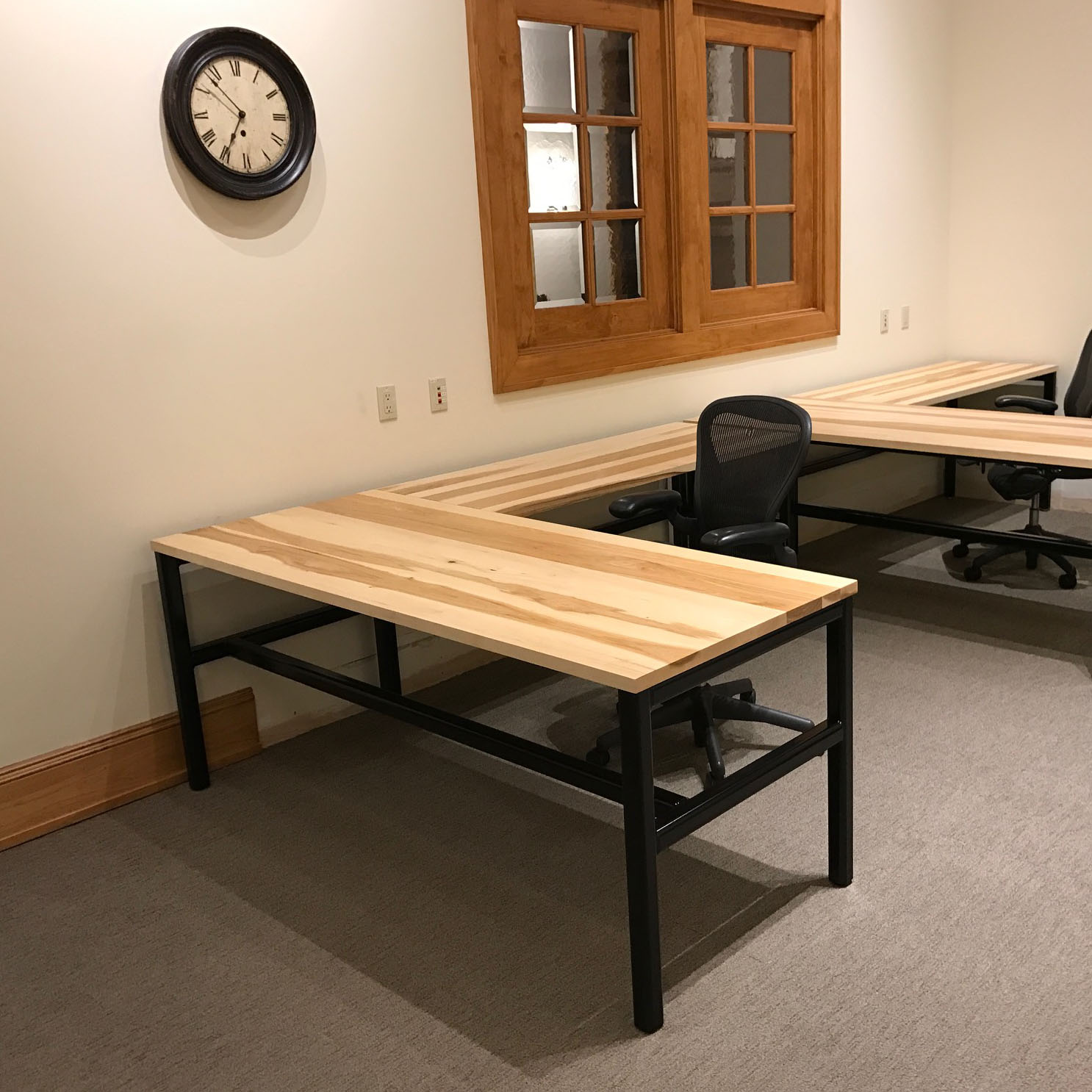 Solid Wood Tables with Style - When a local ice cream company contacted us looking to add character to their office space, solid wood desks immediately came to mind.