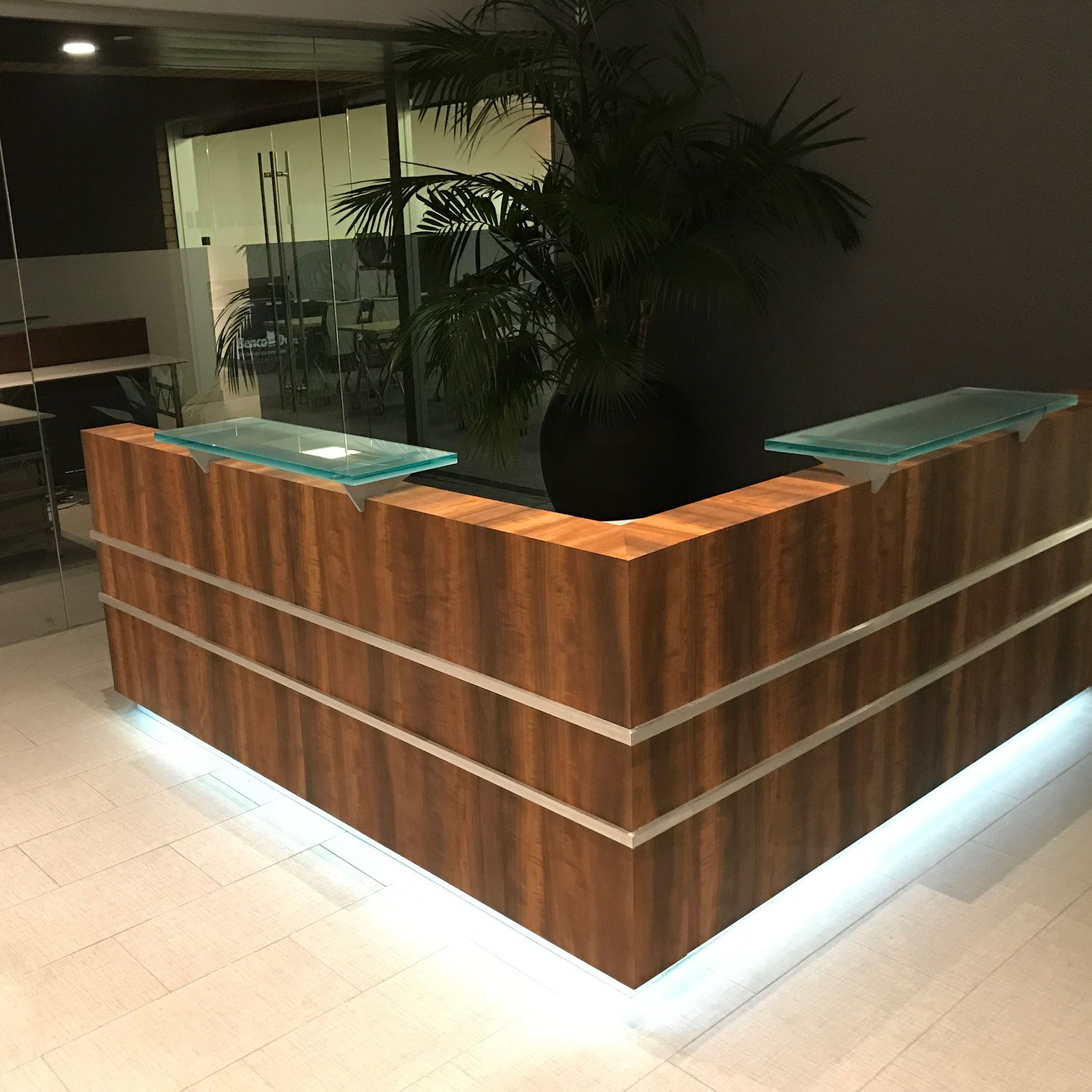 High-Craft Reception Desks - A custom reception desk featured in showrooms across the nation
