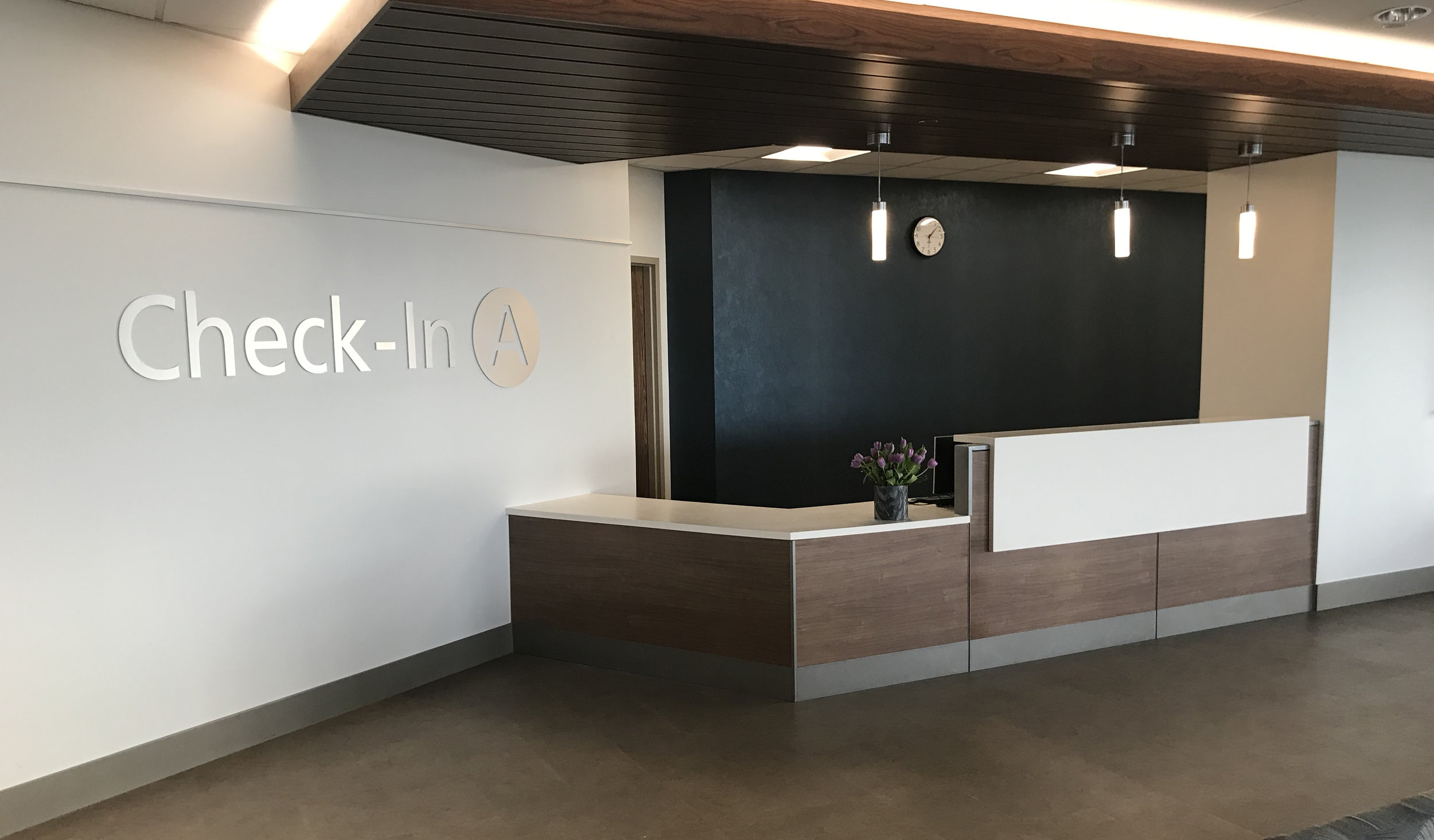 Reception Desks - Create the perfect reception area with custom surrounds, surfaces, transaction tops, and screens in any material.