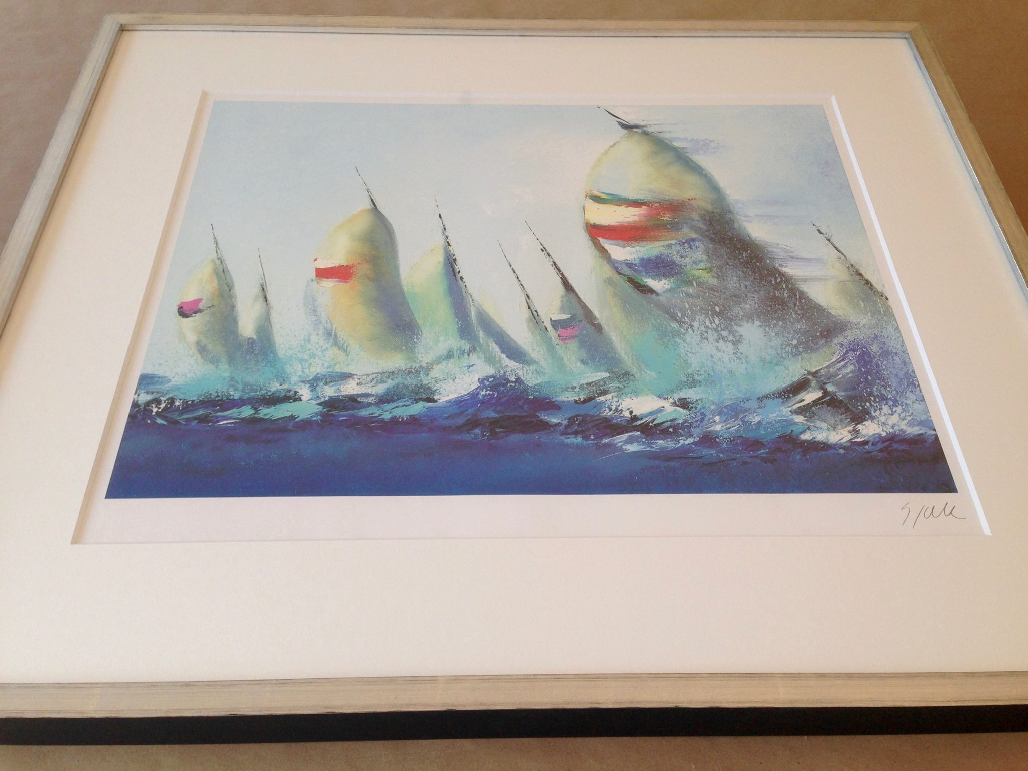 Sail boats ~ signed work on paper