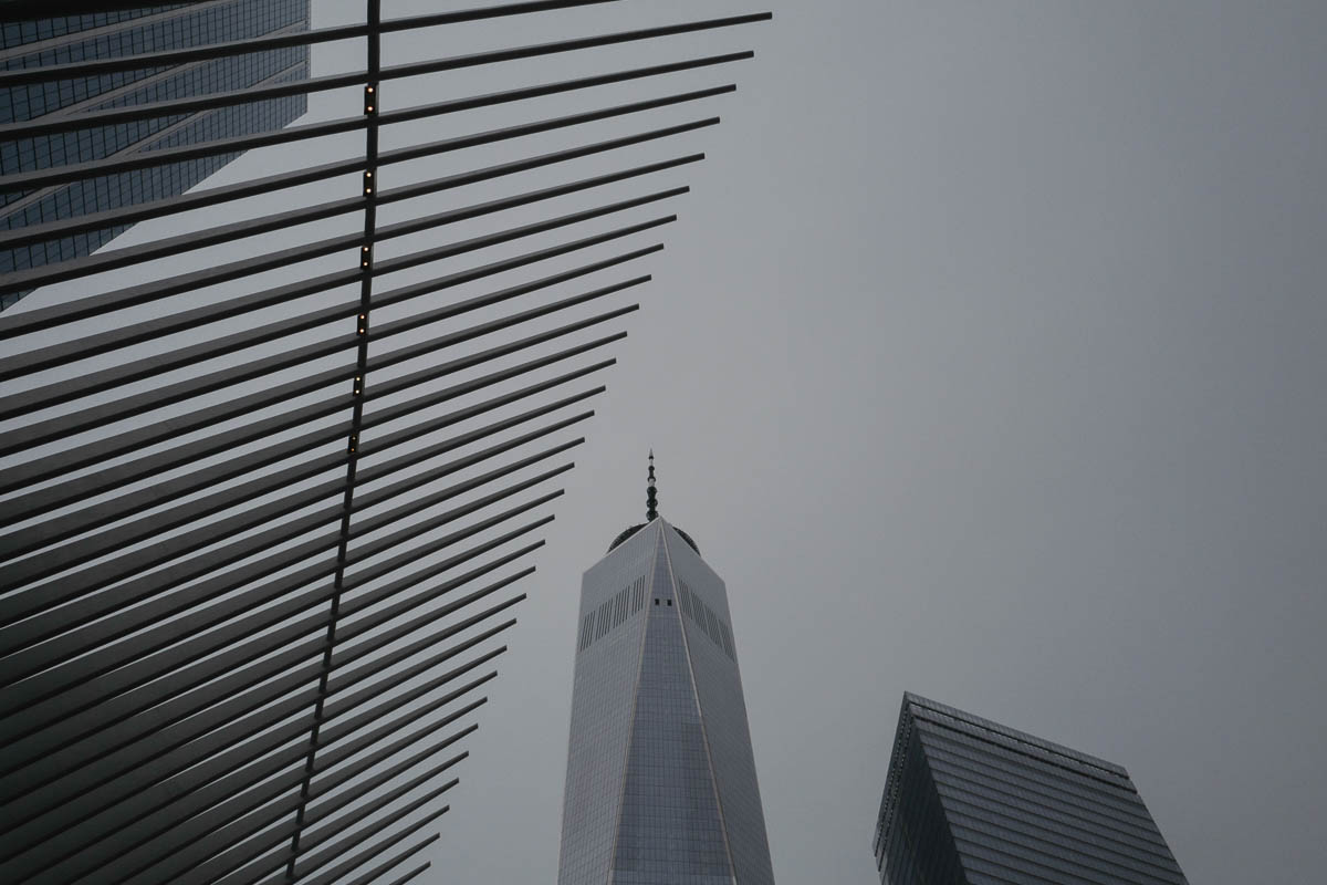 The spiny edges of the Oculus frame One World Trade Center at center.