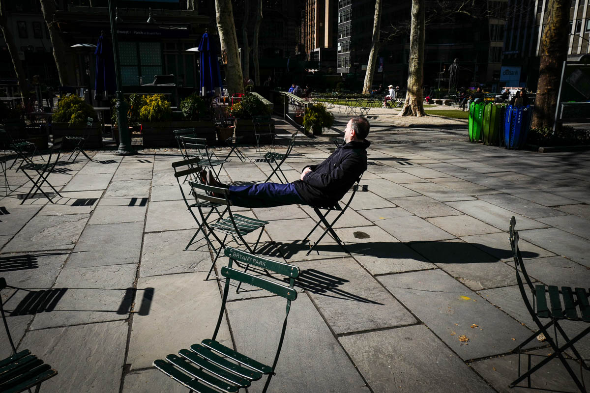 First warm day. Bryant Park, New York City.