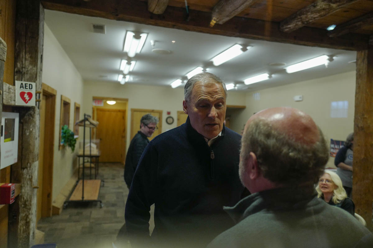 Washington Governor Jay Inslee campaigning for president in New Hampshire.
