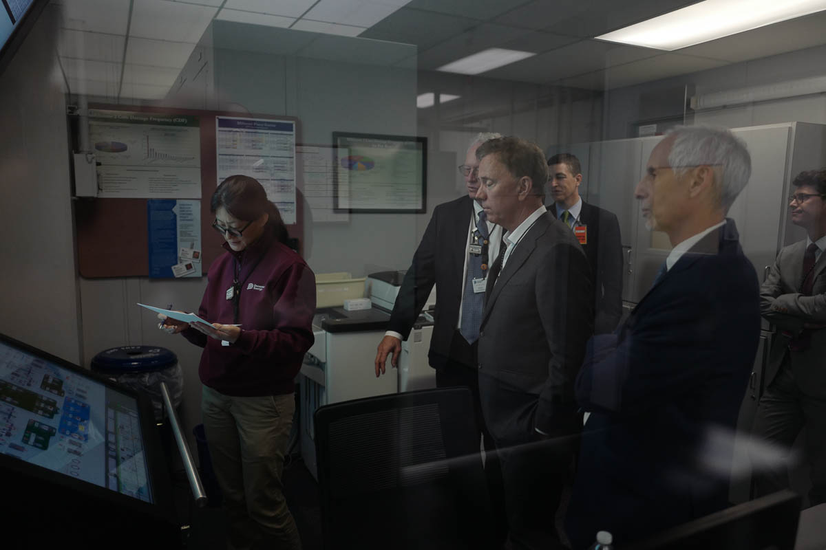 Governor Ned Lamont of Connecticut at the Millstone power plant in Waterford, CT.