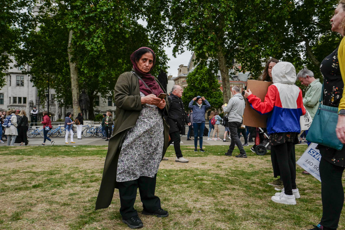 A woman attending an anti-Trump protest in London in June.