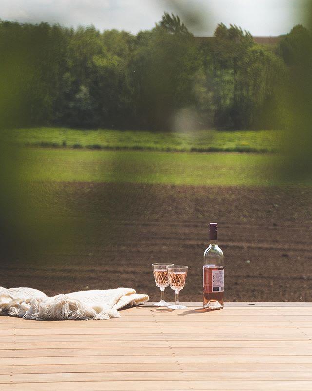 Het weekend goed beginnen met een streepje zon, een fris roséke en een mooi uitzicht op een vers gelegd houten terras. Fijn weekend! • • • #hout #terras #terras #ipe #outdoor #wine #weekend #startinggood