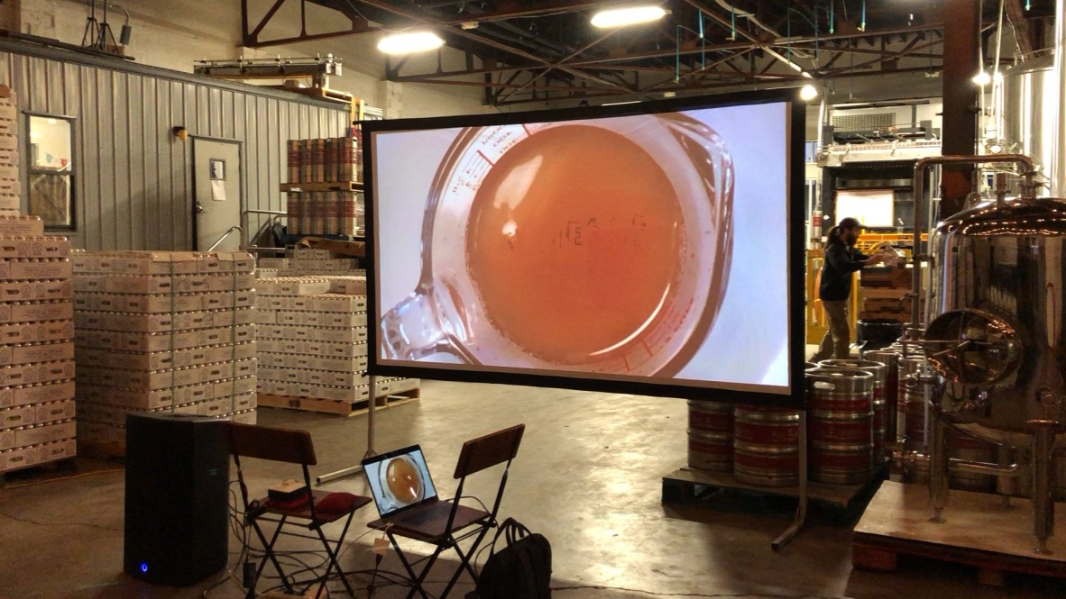 VINEGAR screening set up at Trim Tab Brewing Co.