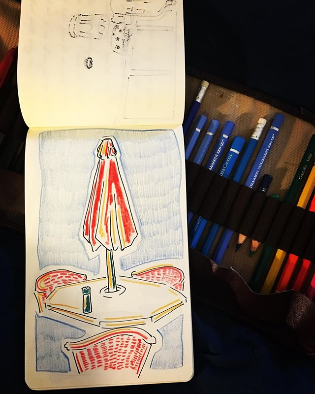 Red Umbrella #beaconny #upstateny #newyorksketchbook #layingthetable #redumbrella