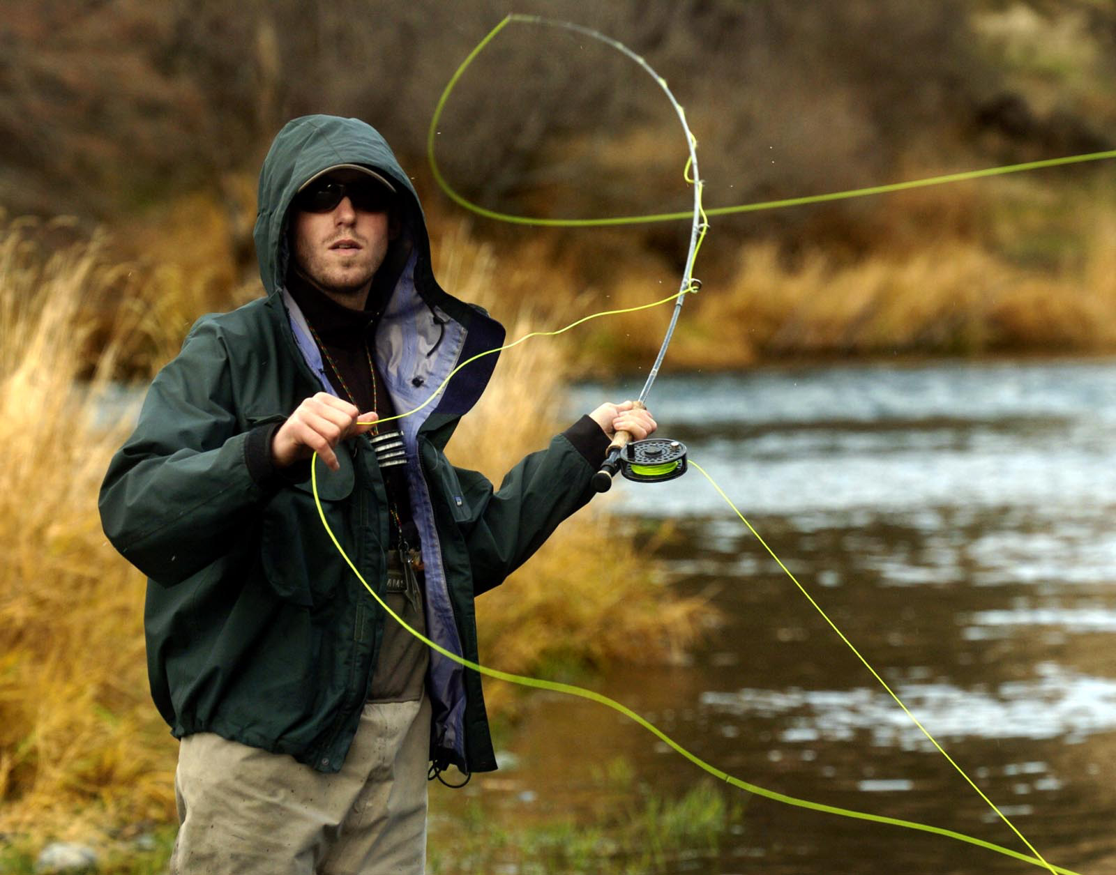 Fly fishing guide Nate casting on the lower Deschutes River.