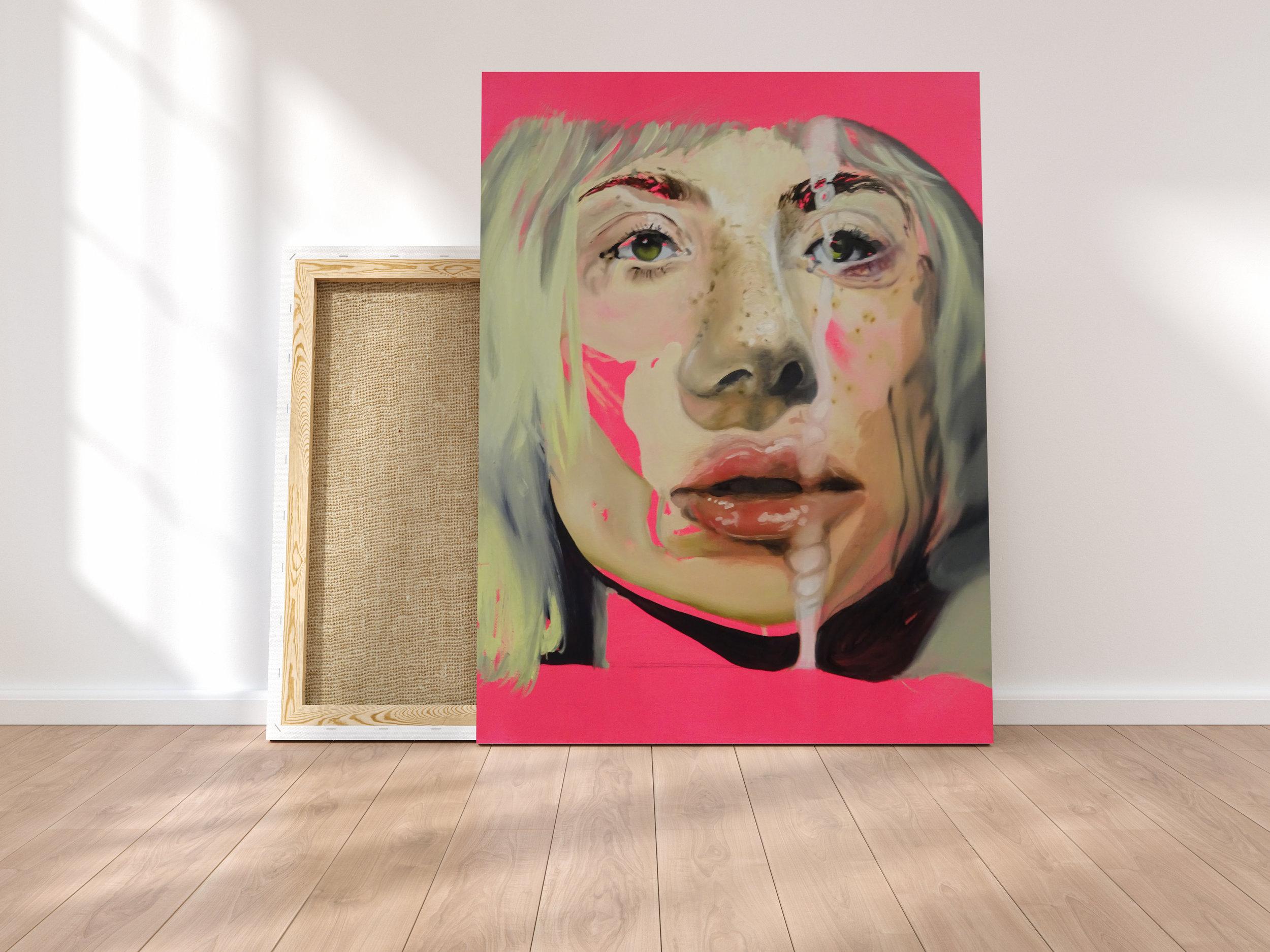 Oil & Acrylic on Canvas -45.5 (H) x 35.5 (W) x 1.8 (D) cm - reborn (2018)