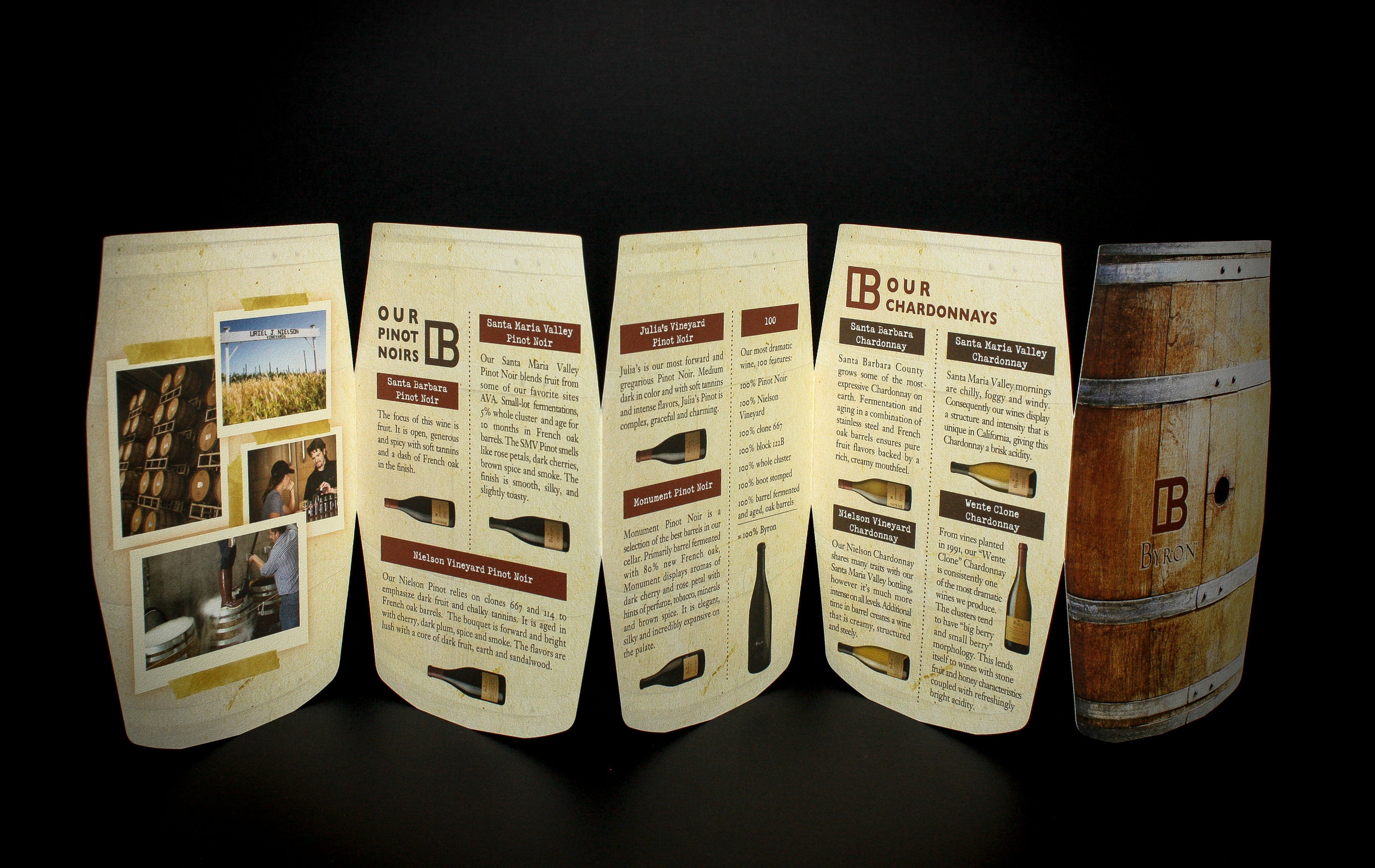 Byron Wines Brochure   Client:  Odell Printing  Accordion-Fold Brochure, 5-panel barrel shape die-cut.