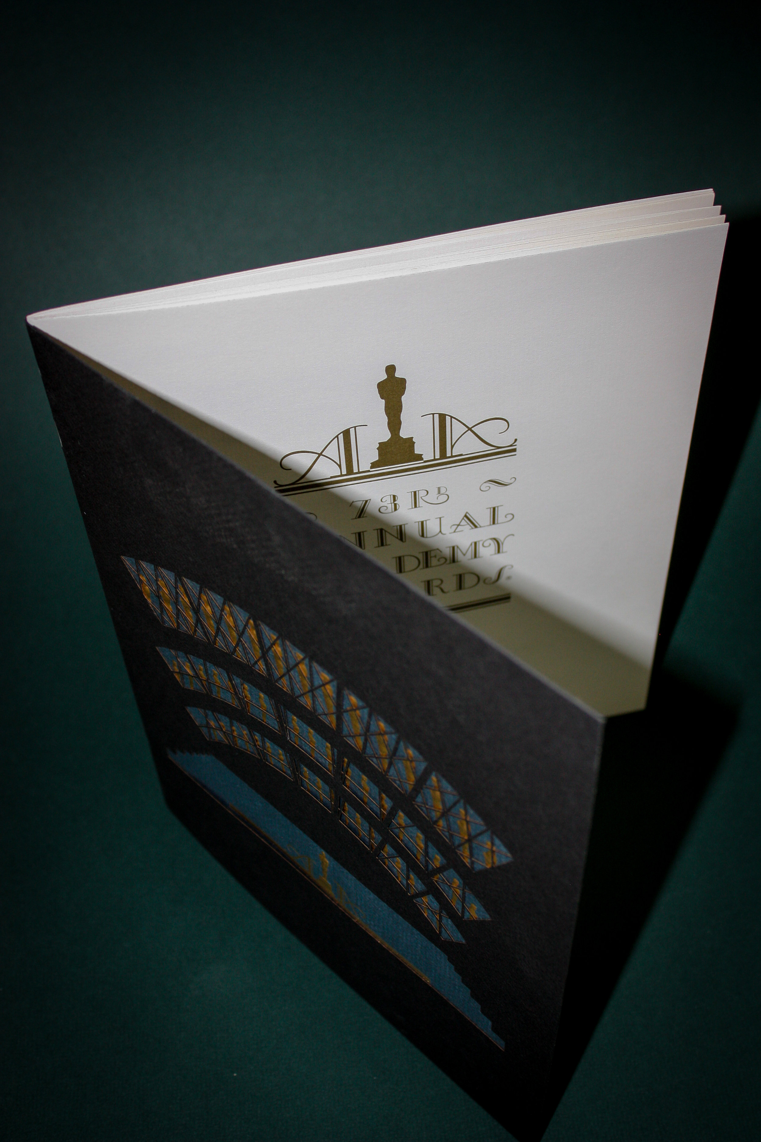 73rd Annual Academy Awards Program Client:  Lightwave Laser  Two color foil and emboss. Mounted to laser-cut outer cover. Featured in the Press Democrat, March 2001.