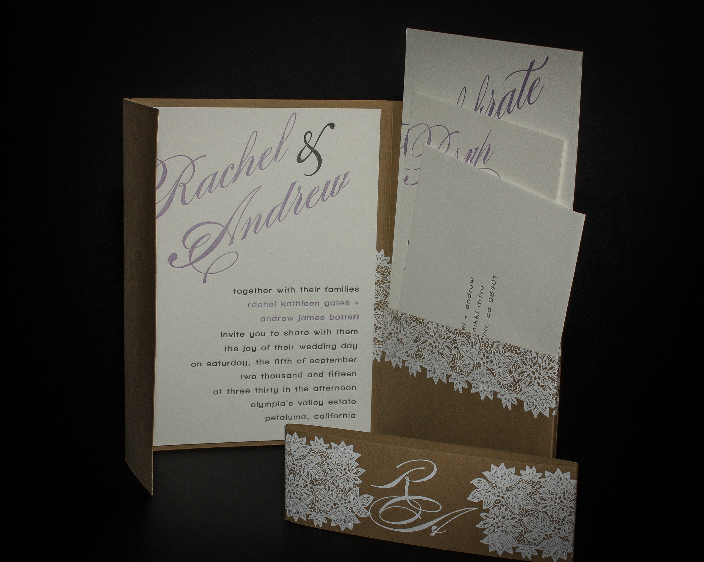 Wedding Invite - Designed by Dienamics Client:  Rachel & Andrew  Two color, letterpress printed invite package. White foiled pocket page and sleeve.
