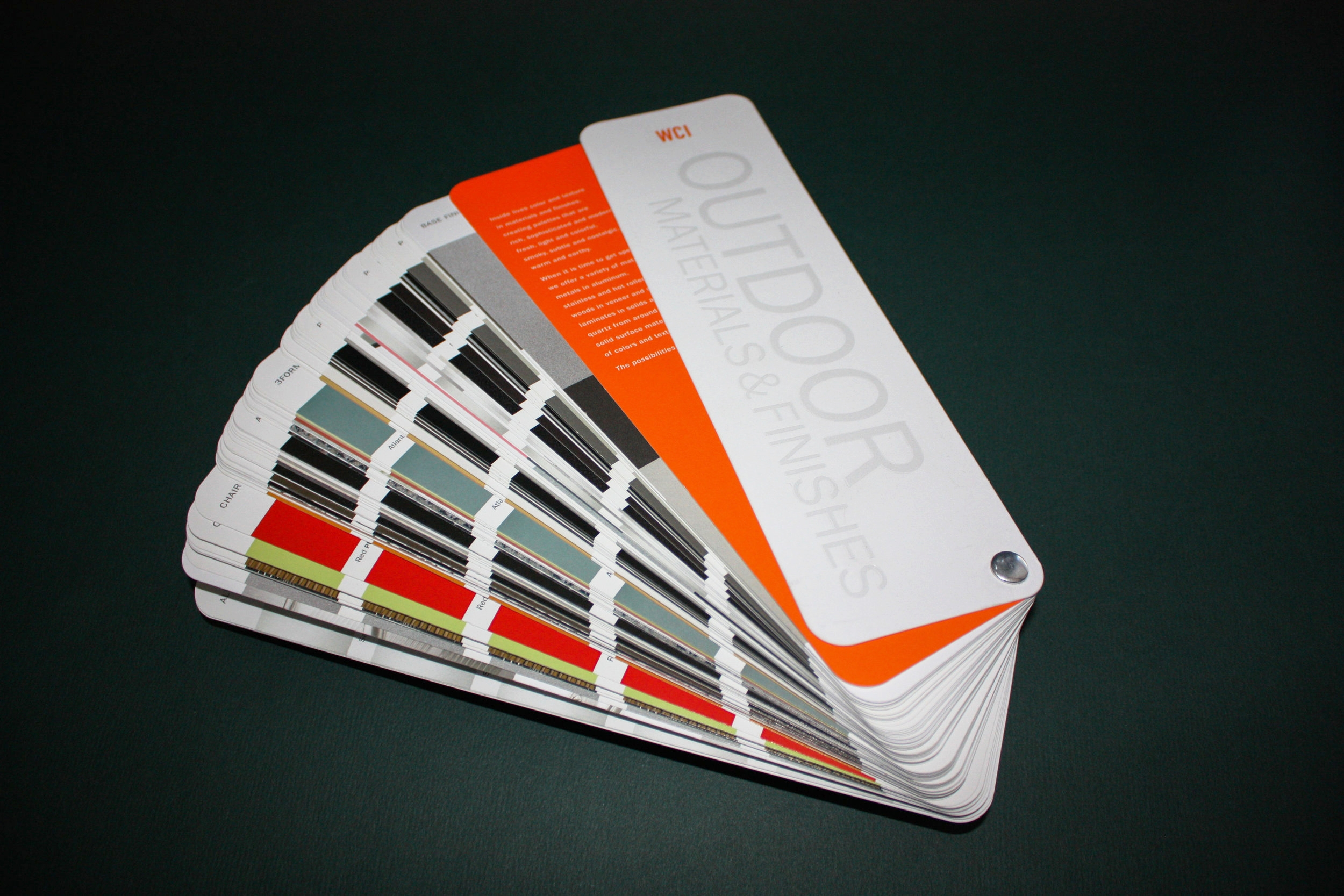 WCI Swatch Book   Client:  MSI  Foiling, Collating, Diecutting, and Chicago screw assembly.