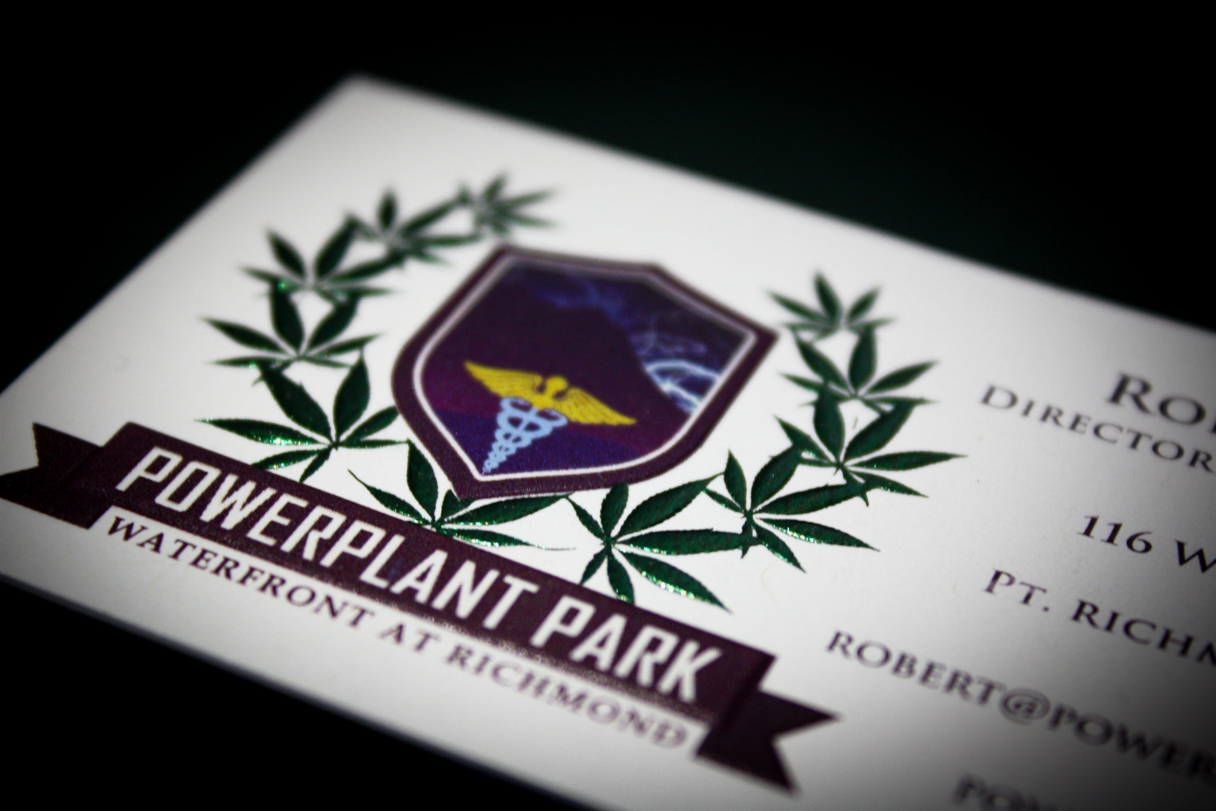 Powerplant Park Client:  Minuteman Press - Marin  Business card printed full color. Foil and sculpted emboss front. Mounted 2-ply and trimmed.