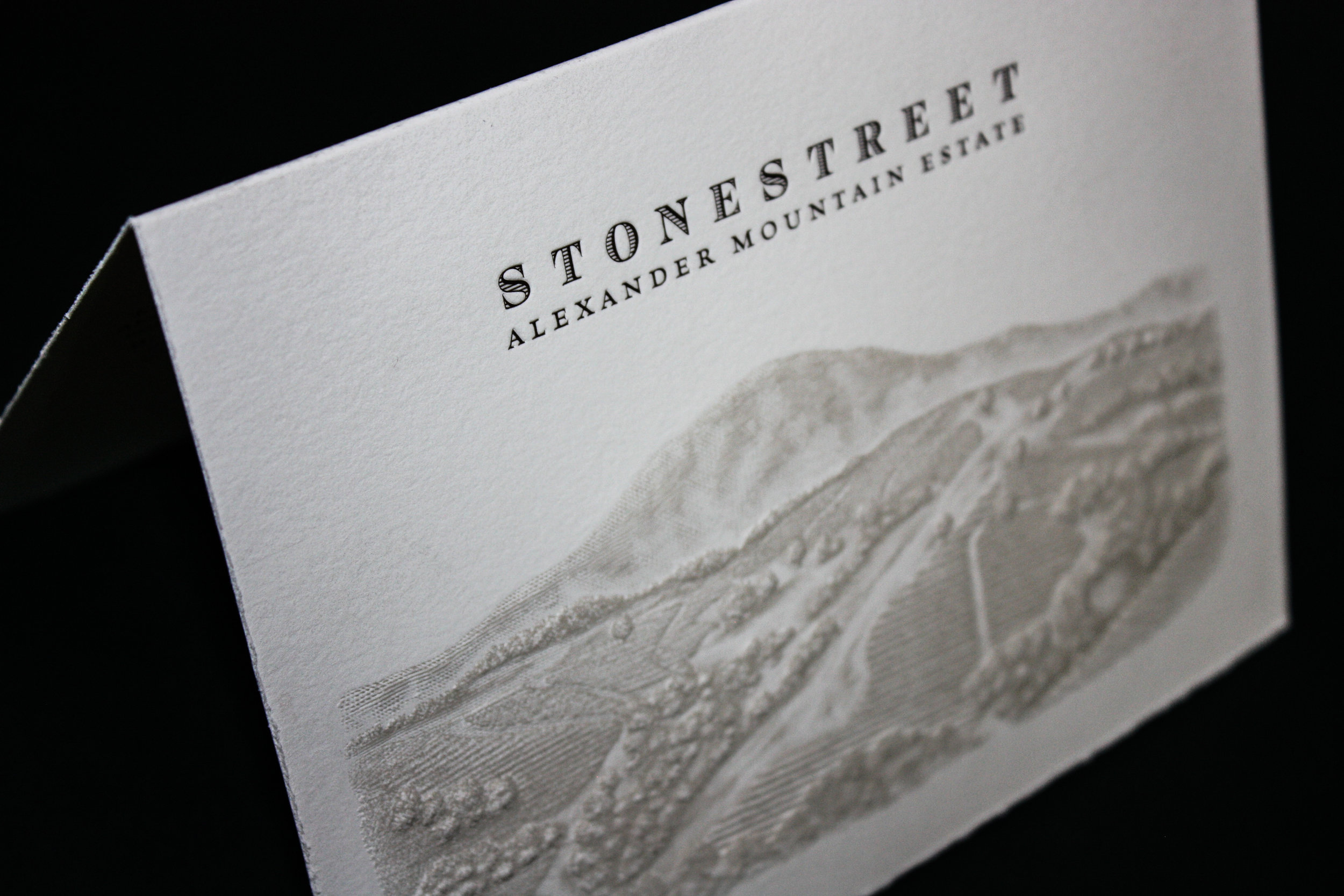 Stonestreet Client:  Odell Printing  Letterpress printed front cover. Sculpture embossed front image on folded notecards.