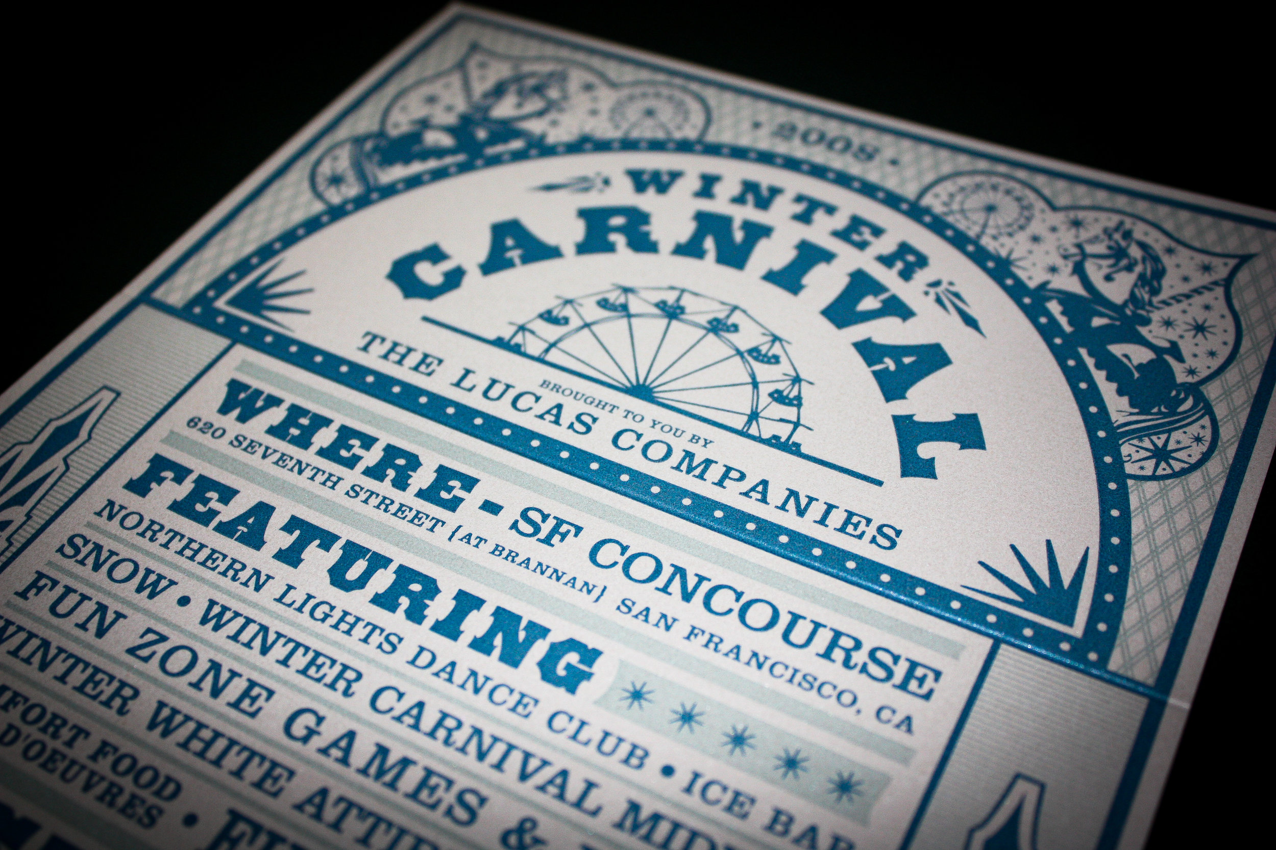 ILM   Two color letterpress printed party invitations.