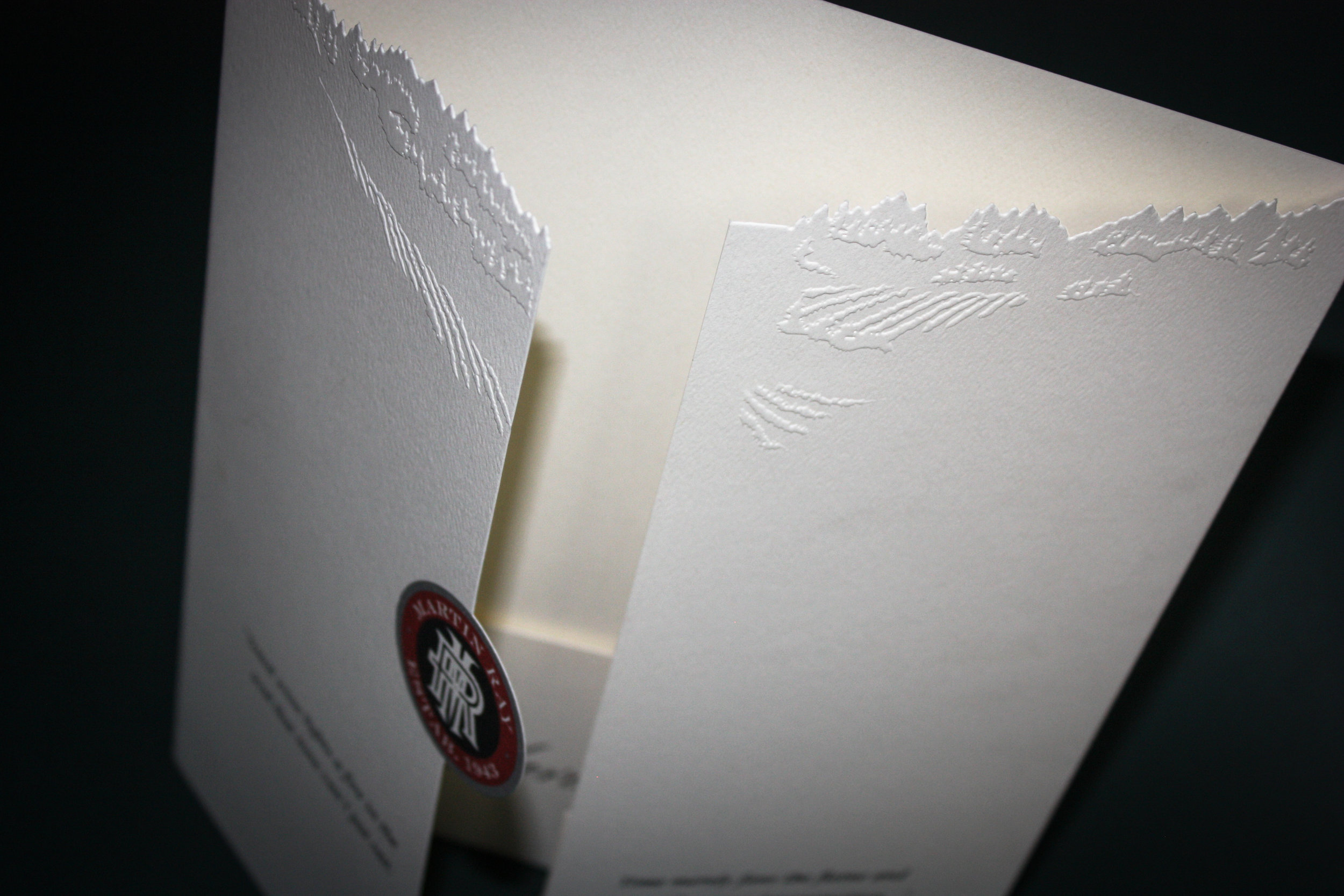 Martin Ray Wines Client:  Exact Graphics  Wine brochure with pocket. Blind emboss and custom die-cut.