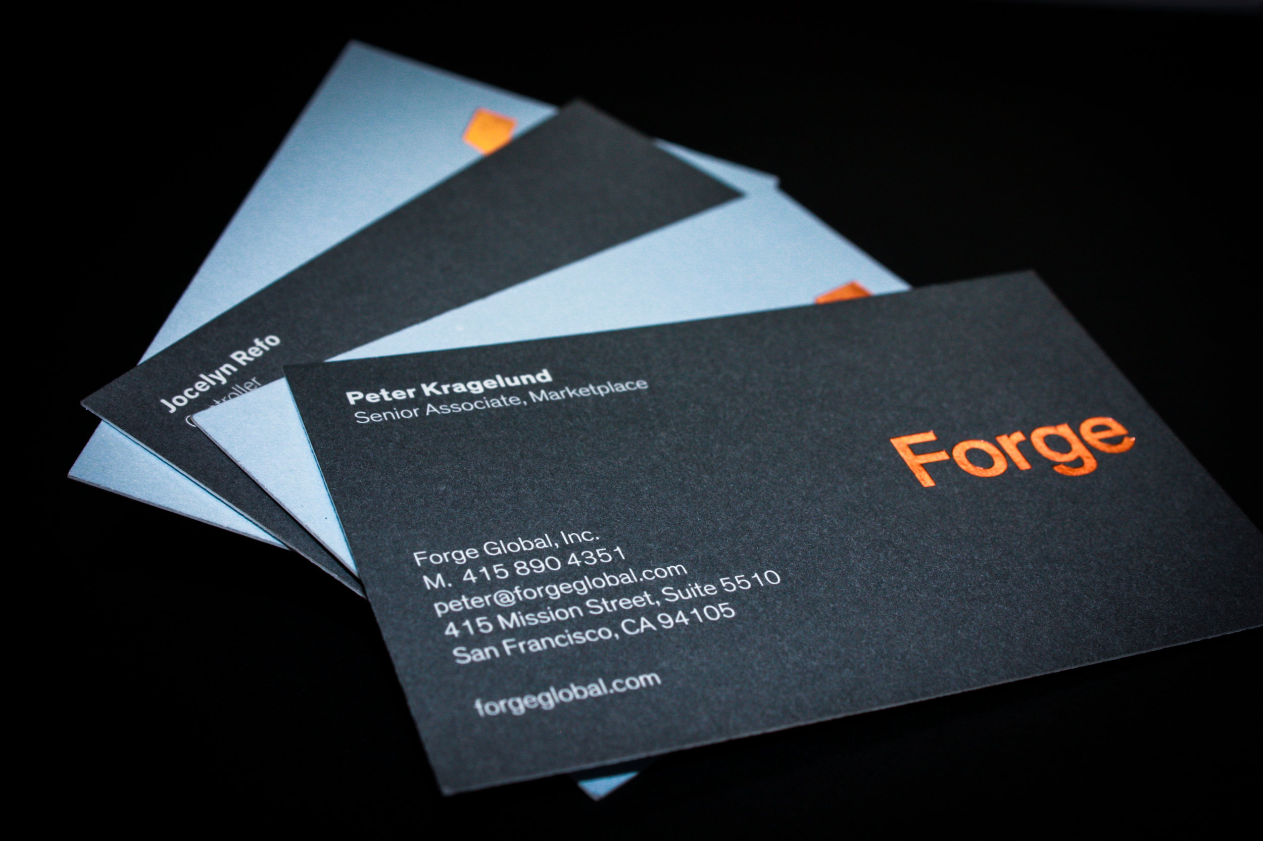 Forge Client:  Third Bay Letterpress  Business cards, spot color printed and foiled.