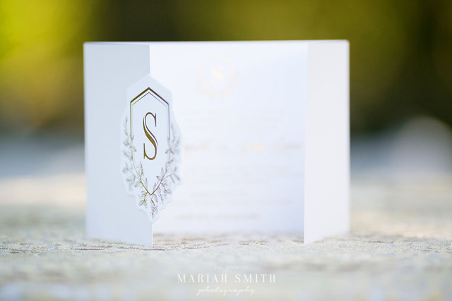 Wedding Invite Client:  Dreammaker Designs  Gold foil and die-cut.