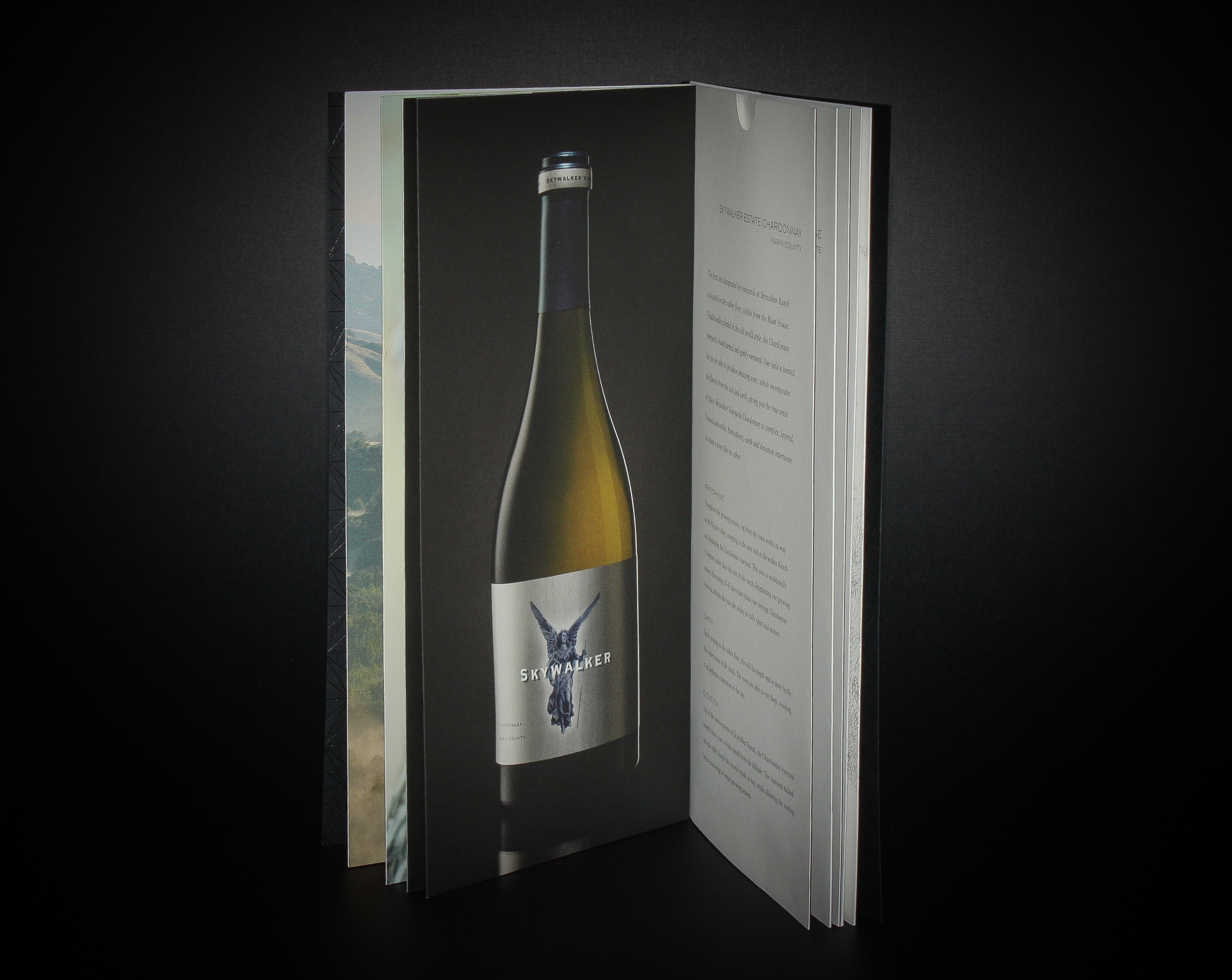Skywalker Wines Client:  Thirdbay Letterpress  Black foiled exterior cover. Die-cut and converted interior pocket pages. Assembly with eyelets.