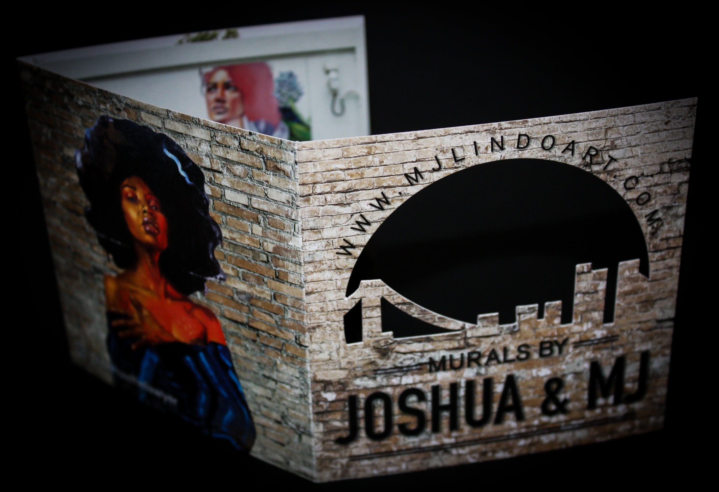 MJ Lindo Business Cards   Client:  MJ Lindo Art  Tri-fold business cards with die-cut cover panel.