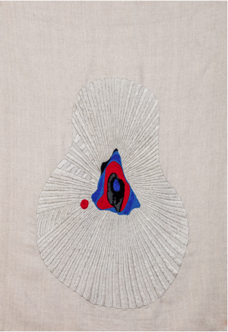 Carolina Mazzolari, Emotional Field (void) LOVE, 2018, cotton and wool embroidery onto unprimed linen