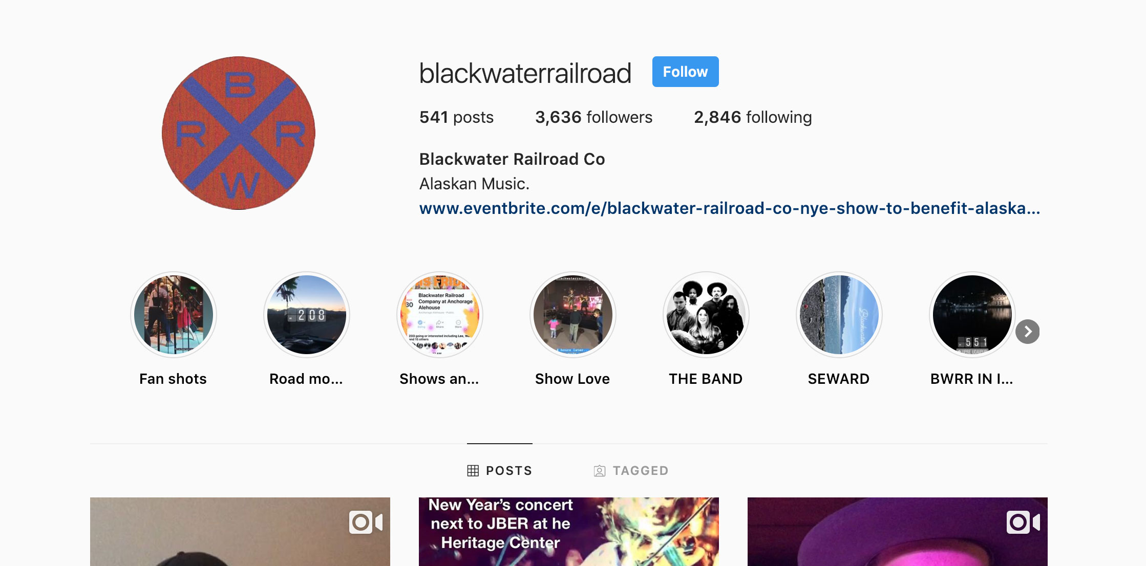 instagram growth marketing - With the gorgeous backdrop of Alaska, creating great content wasn't difficult for Blackwater Railroad, growing the account was another matter altogether.We worked to develop a targeted growth strategy to not only grow the account, but grow it with the right people. On average their account has been organically growing 700-800 followers every month since launch.We're also managing the growth of the band members' personal accounts to help drive traffic back to the primary account. These accounts have organically been adding more than 500 followers/month.