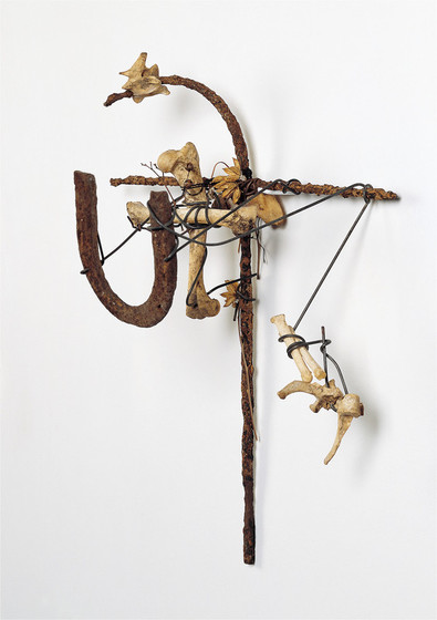 Lonnie Holley,  The Boneheaded Serpent at the Cross (It Wasn't Luck) , 1996, metal, bones, and dried flowers, Souls Grown Deep Foundation, Atlanta, from the William S. Arnett Collection, © Lonnie Holley/Artists Rights Society (ARS), New York, photo by Stephen Pitkin