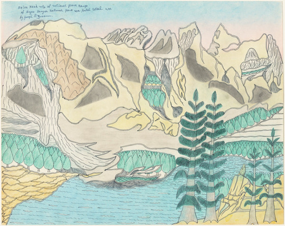 Joseph Yoakum,  Briar Head Mtn of National Park Range of Bryce Canyon National Park near Hatch, Utah U.S.A. , c. 1969, pen and colored pencil on paper, 20 x 24 in., National Gallery of Art, Washington, gift of the Collectors Committee and the Donald and Nancy de Laski Fund