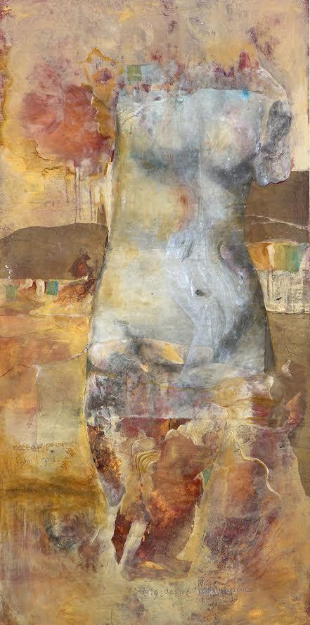 "Venus IV, ""Into desire I shall come,"" handmade paper collage 78"" x 39""."