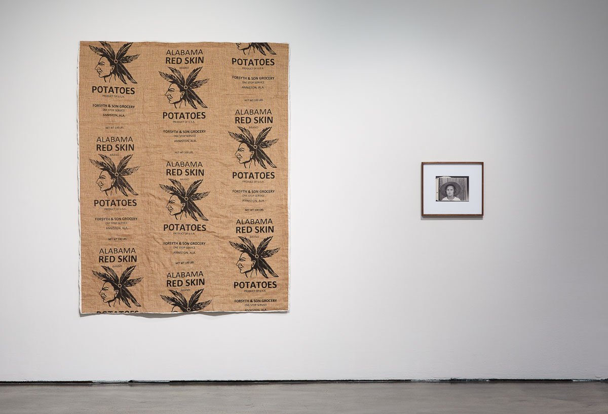 Left: James Benning,  after Maggie Louise Gudger , 2019, Hand sewn quilt, 82 x 63 in., Right: James Benning,  after Evans (Lucille Burroughs) , 2019, Photograph, 12 x 14 in, Installation view, Photo Courtesy Alex Blair © 2019