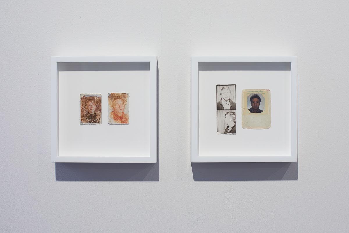 Left: James Benning,  Sadie B 1985/1986 , 1990, Two photographs, 6 x 7 in., Right: James Benning,  Self 1967/1986 , 1990, Three photographs, 6 x 7 in., Installation view, Photo Courtesy Alex Blair © 2019