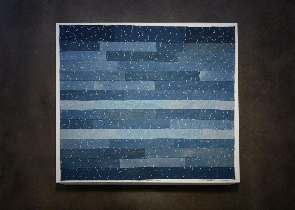 James Benning,  after Missouri Pettway , 2019, Hand sewn quilt, 63 x 71 in., Installation view, Photo Courtesy Alex Blair © 2019