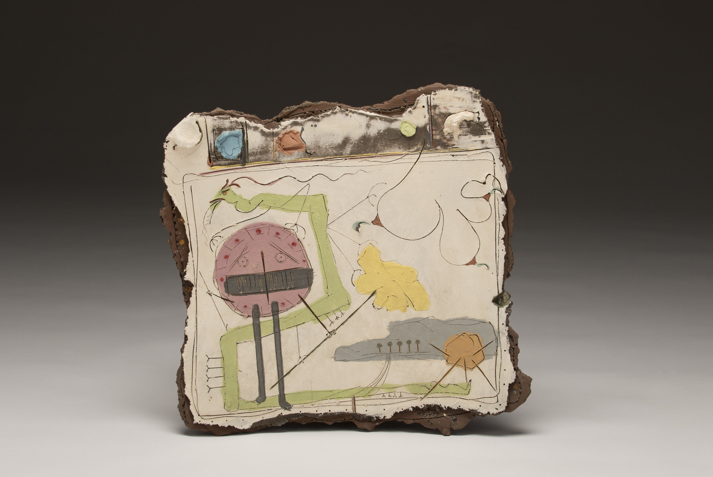 Don Reitz,  Shield (Sara Series) , gas fired earthenware with engobes, c. 1983, 18.5 x 18.25 x 2.75 in., Don Reitz Collection