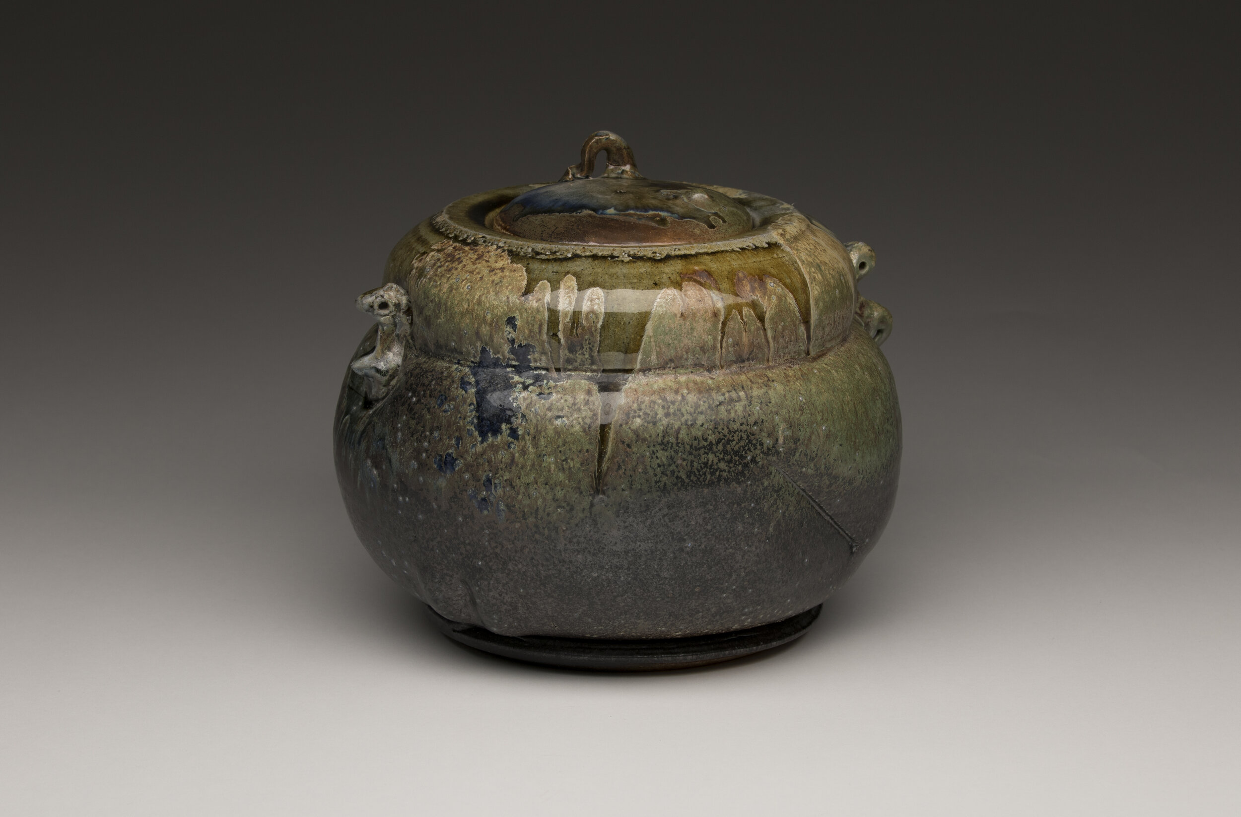 Don Reitz,  Lidded Jar , salt fired stoneware, 1970, 7.75 x 9 x 9 in., Don Reitz Collection