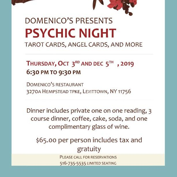 Come see me tonight for dinner and a #tarot or #astrology reading at Domenico's in Levittown ❤ 🔮🍝