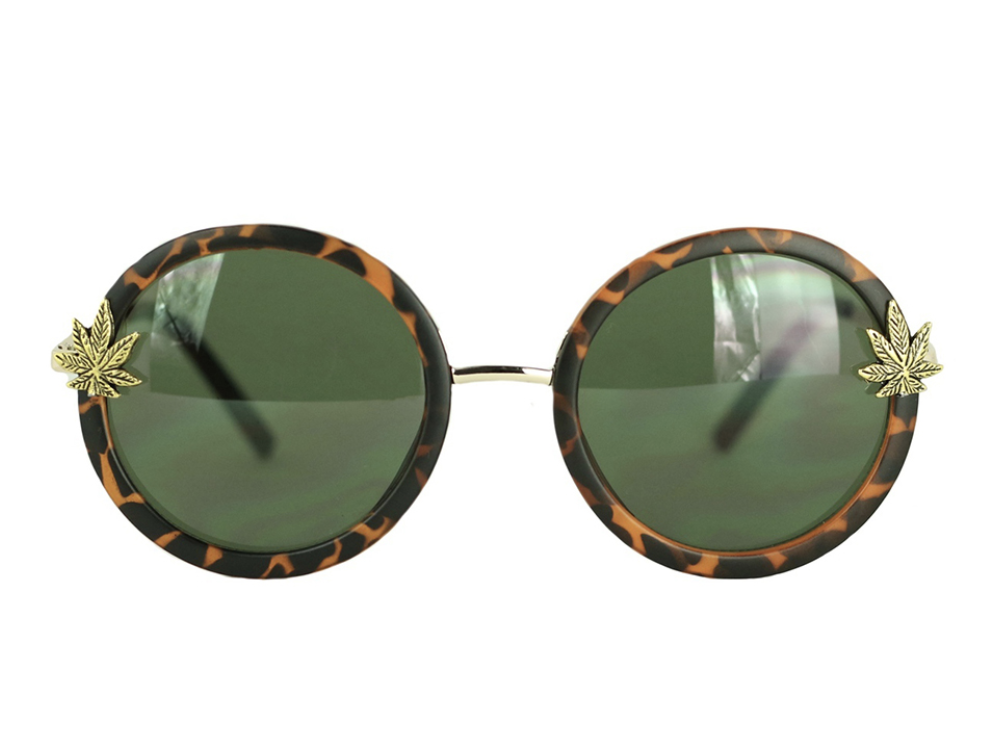My favorite round frame sunnies with pot leaf cabochons. I never ever leave home without them.   Made by hand in Los Angeles