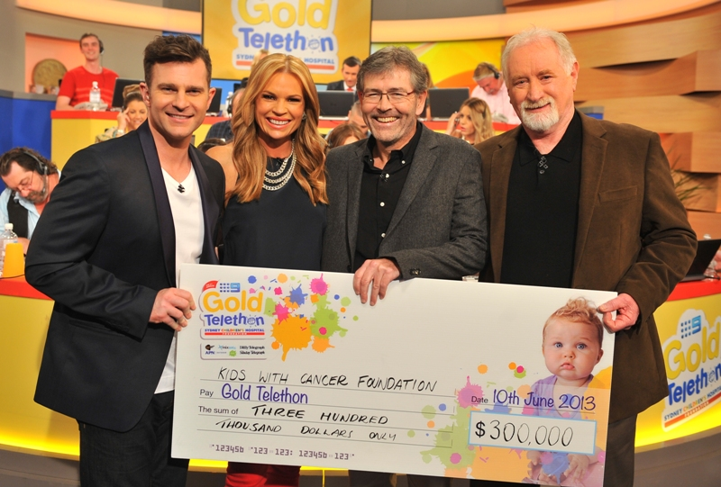 David Campbell, Sonia Kruger, Prof Glenn Marshall (Director of the Kids Cancer Centre) and Peter Bodman from the Foundation at the Telethon in June 2013.
