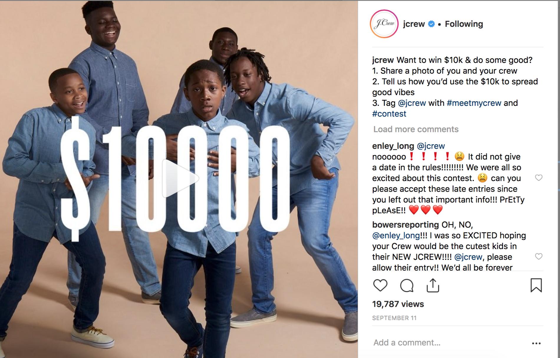 J. Crew Instagram Post 9/11/18