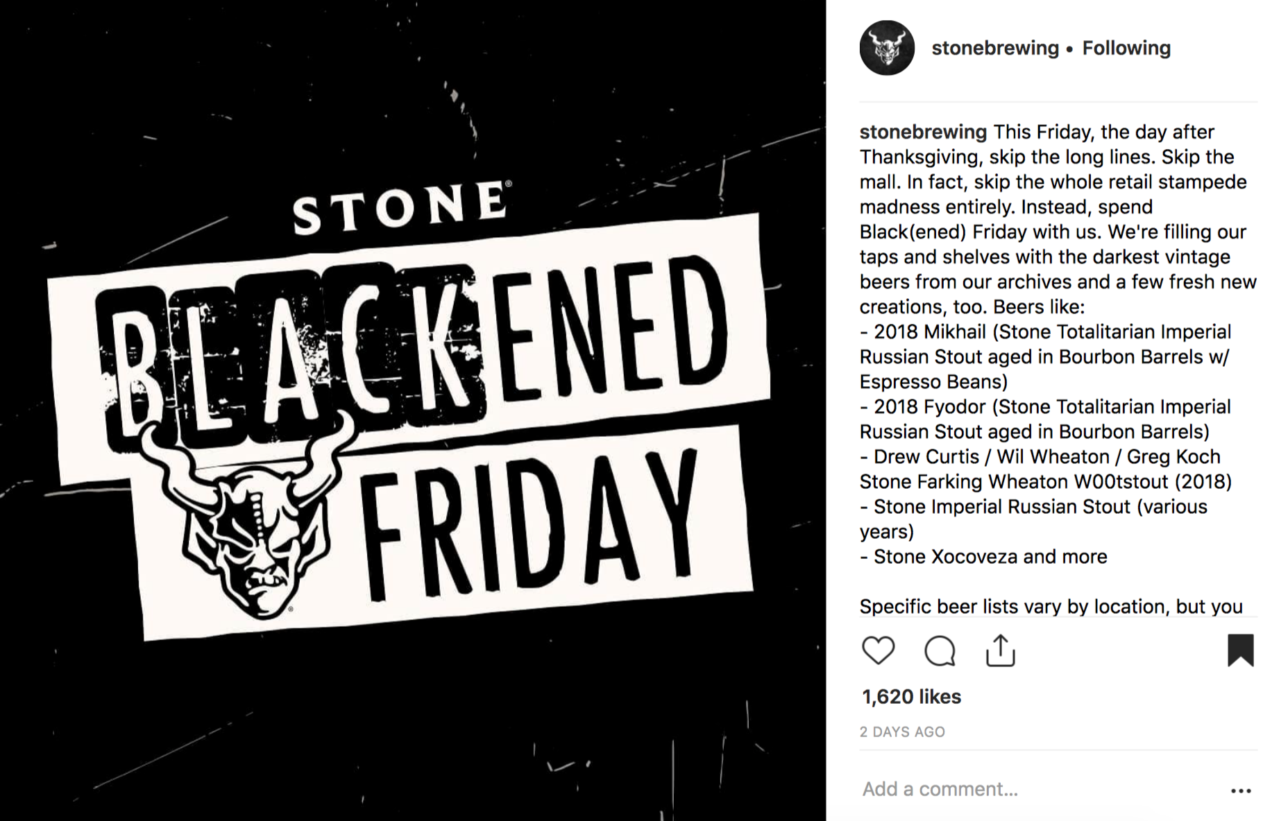 Stone Brewing's Special Beer Offerings for the 2018 BFCM Weekend.