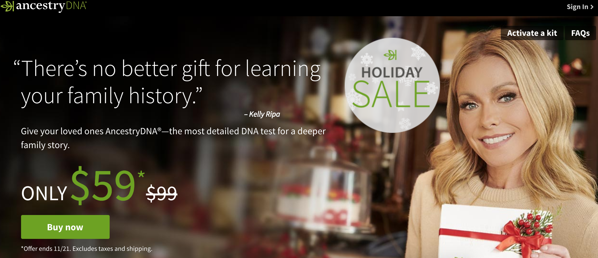 AncestryDNA framing their service as a great gift for the family. Promo ends the day before Thanksgiving 2018.