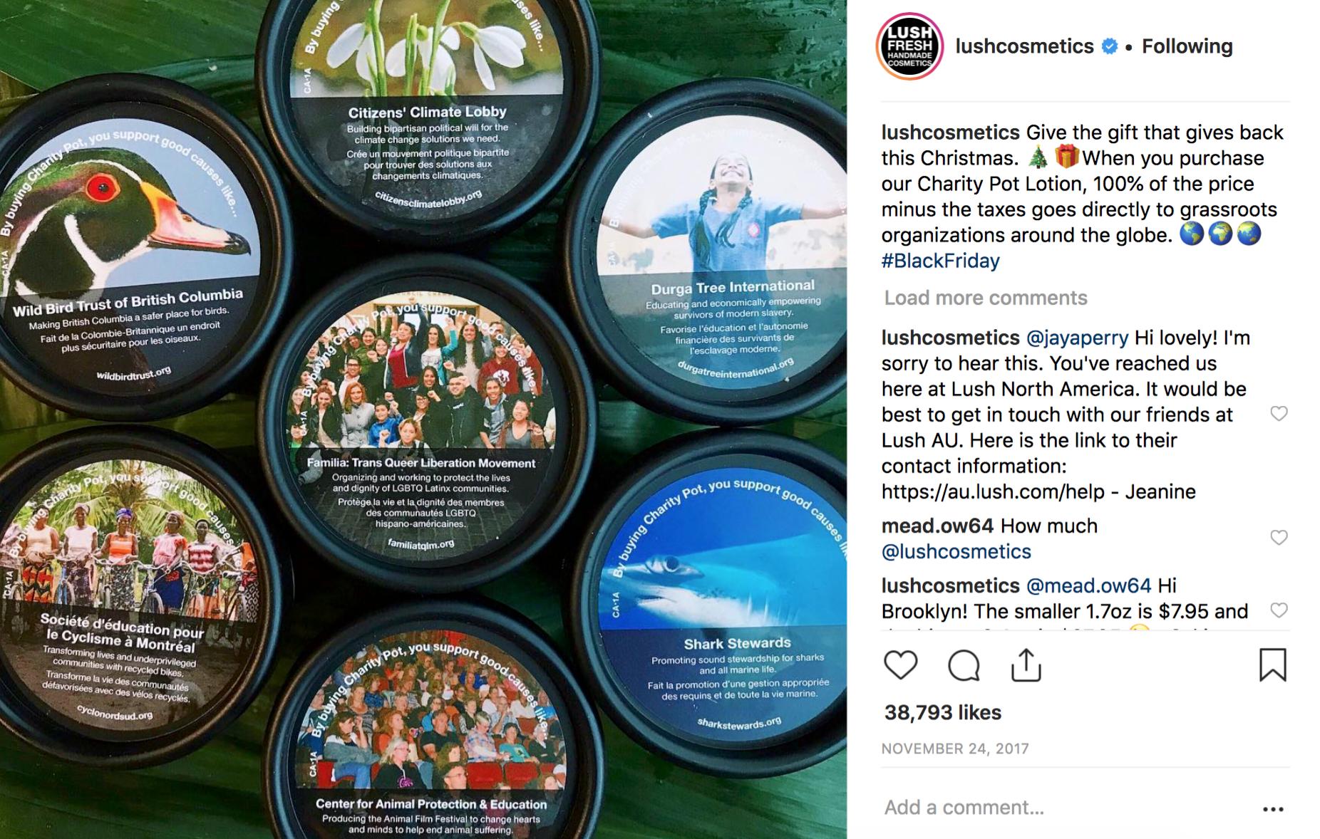 LUSH Cosmetics on Instagram Black Friday 2017.