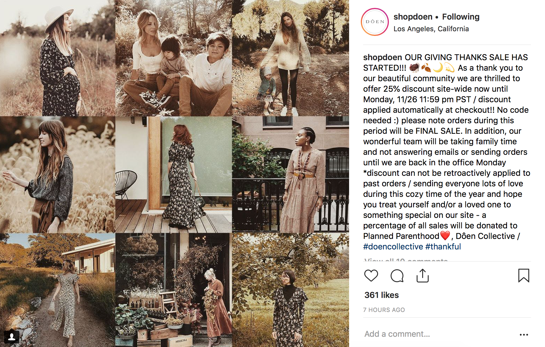 Doen Instagram post on Thanksgiving Day 2018. Note the mention of customer service limitations over the weekend, final sale policy, and charitable aspect to the sale.
