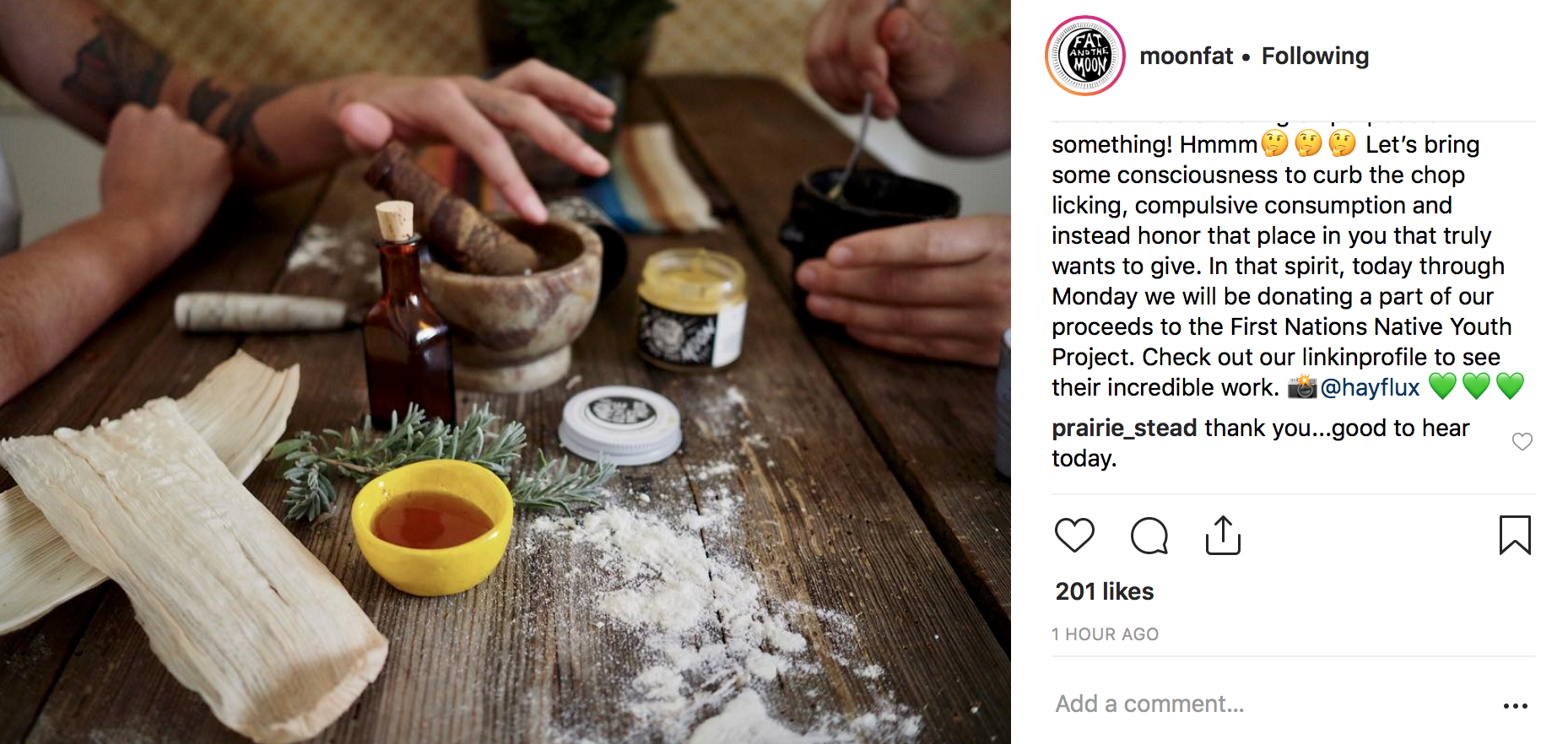 Fat and the Moon's take on BFCM: conscious consumption. No sale, just charitable giving (if only they specified the %). Posted on Instagram 11/22/18.