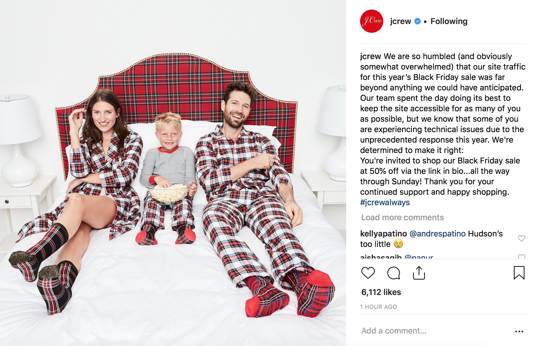 J. Crew posted an apology post on Instagram announcing that they were extending their sale until Monday. Whether J.Crew was originally planning on having their sale continue to Monday (pretty probable) or not, this was great customer-centric framing at a time when customers could be frustrated with their J.Crew shopping experience.