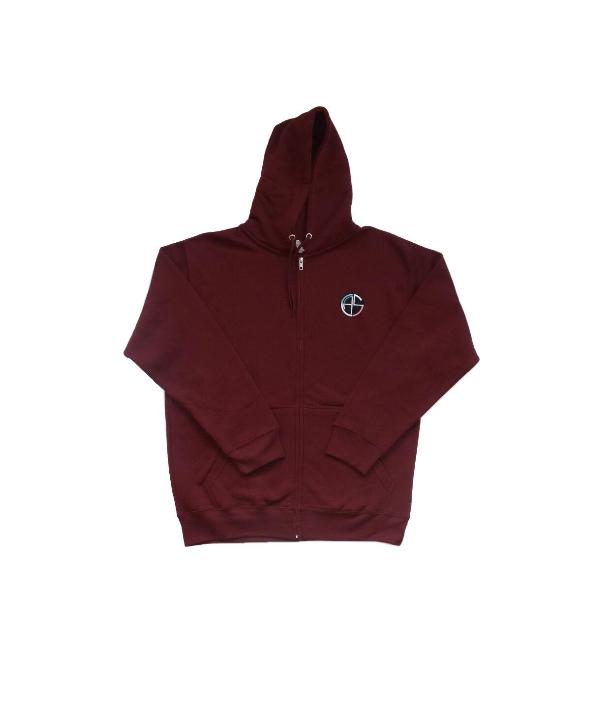 C.A.s. maroon zip up -