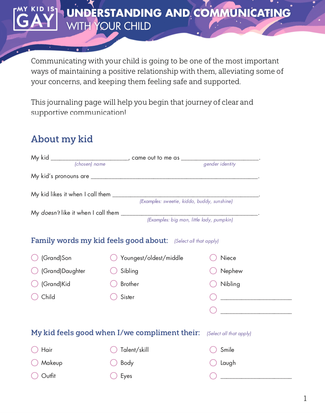 "Click the image to download the worksheet ""Understanding and Communicating with Your Child, created by Jordan Mix!"
