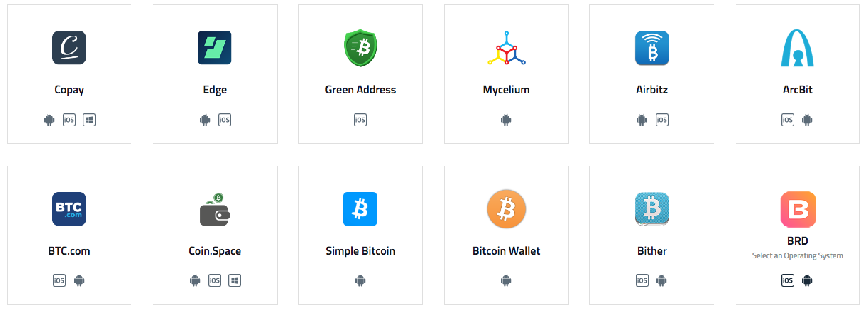 Popular Mobile Bitcoin Wallets and phone apps/OS supported. via  bitcoin.org